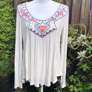 Cream Peasant Style Blouse   A223